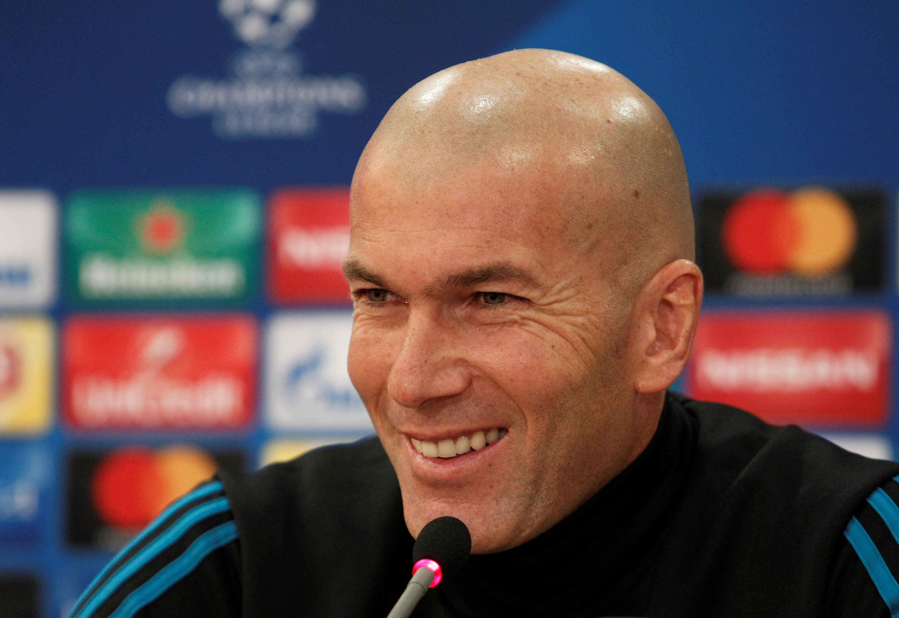 Soccer Football - Champions League - Real Madrid Press Conference - GSP Stadium, Nicosia, Cyprus - November 20, 2017   Real Madrid coach Zinedine Zidane during the press conference   REUTERS/Yiannis Kourtoglou