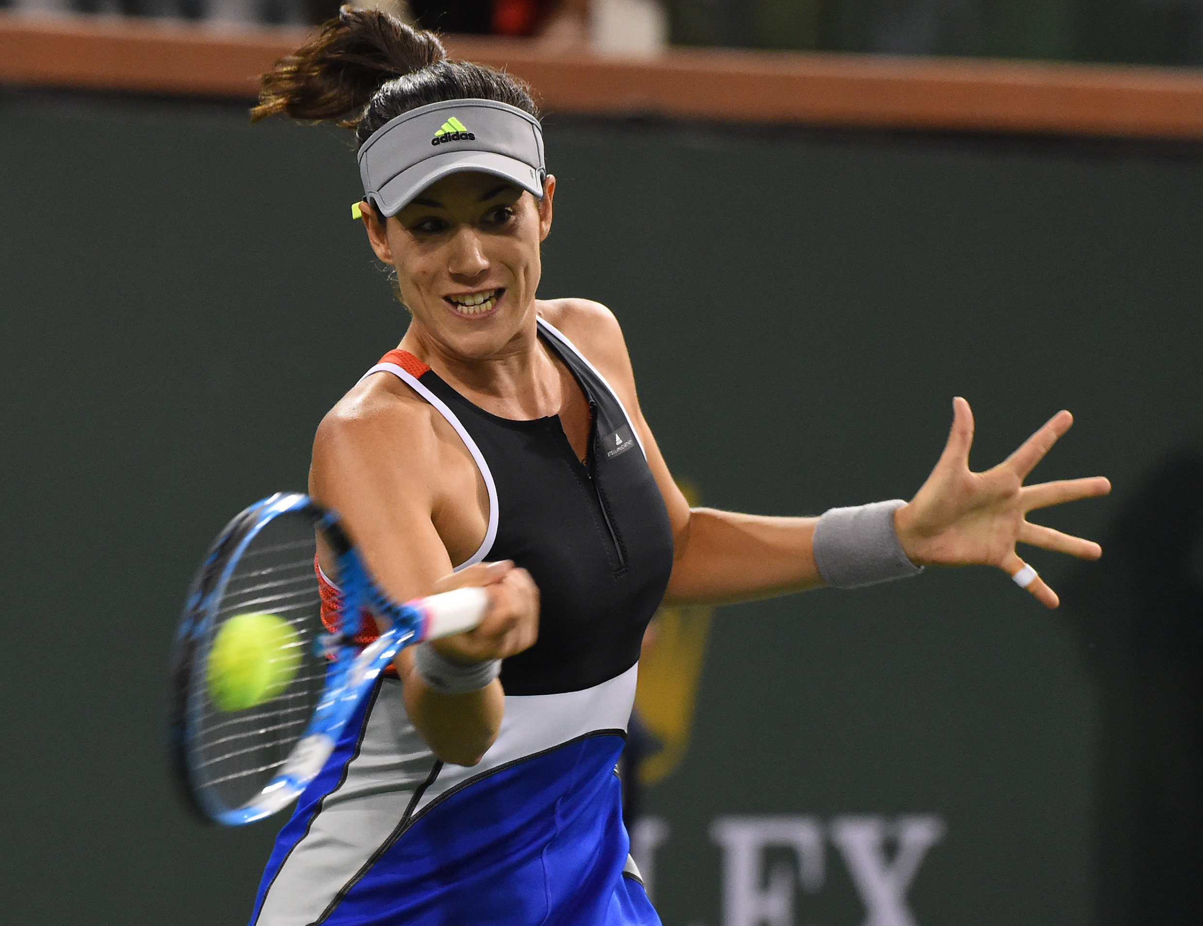 Mar 9, 2018; Indian Wells, CA, USA; Garbine Muguruza (ESP) during her second round match against Sachia Vickery (not pictured) in the BNP Open at the Indian Wells Tennis Garden. Mandatory Credit: Jayne Kamin-Oncea-USA TODAY Sports