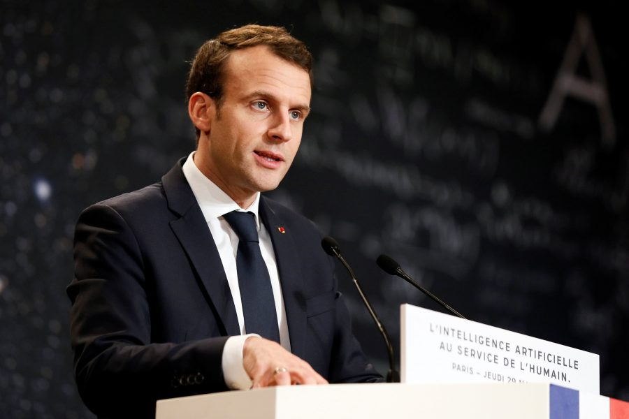 French President Emmanuel Macron delivers a speech during the Artificial Intelligence for Humanity event in Paris, France, March 29, 2018. Etienne Laurent/Pool via Reuters