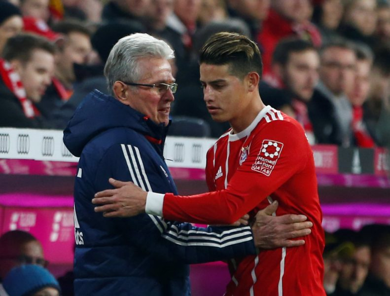 Soccer Football - Bundesliga - Bayern Munich vs Borussia Dortmund - Allianz Arena, Munich, Germany - March 31, 2018   Bayern Munich's James Rodriguez with coach Jupp Heynckes after being substituted   REUTERS/Michaela Rehle    DFL RULES TO LIMIT THE ONLINE USAGE DURING MATCH TIME TO 15 PICTURES PER GAME. IMAGE SEQUENCES TO SIMULATE VIDEO IS NOT ALLOWED AT ANY TIME. FOR FURTHER QUERIES PLEASE CONTACT DFL DIRECTLY AT + 49 69 650050