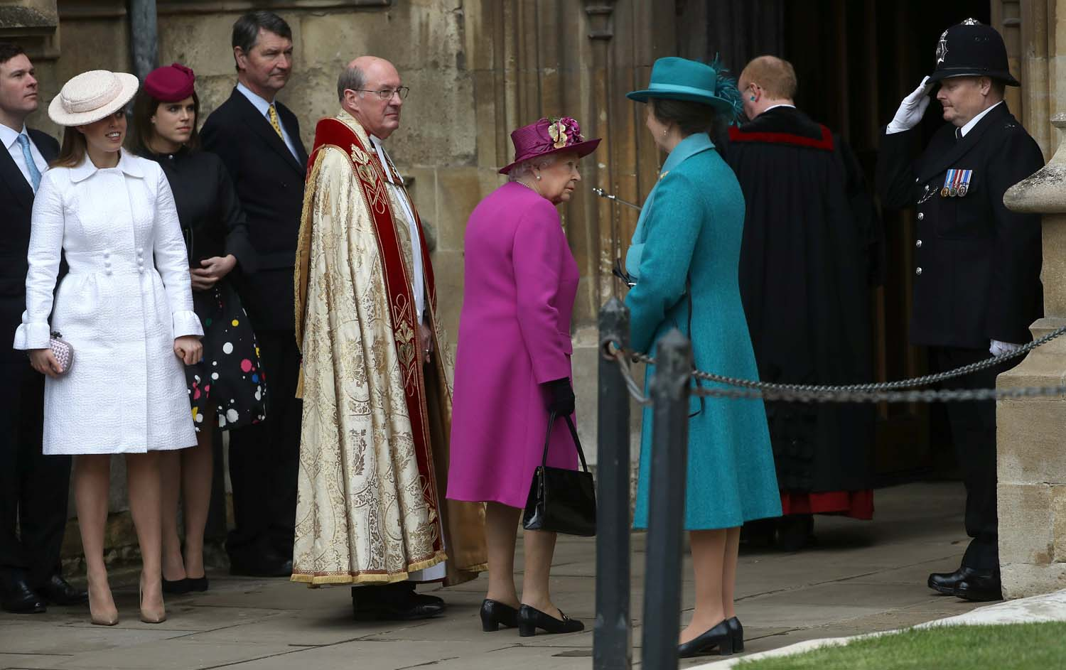 Britain's Queen Elizabeth and other members of Britain's royal family arrive for the annual Easter Sunday service at St George's Chapel at Windsor Castle in Windsor, Britain, April 1, 2018. REUTERS/Simon Dawson