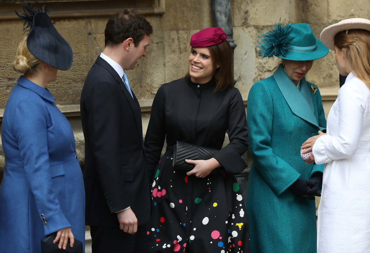 Britain's Princess Eugenie and other members of Britain's royal family arrive for the annual Easter Sunday service at St George's Chapel at Windsor Castle in Windsor, Britain, April 1, 2018. REUTERS/Simon Dawson