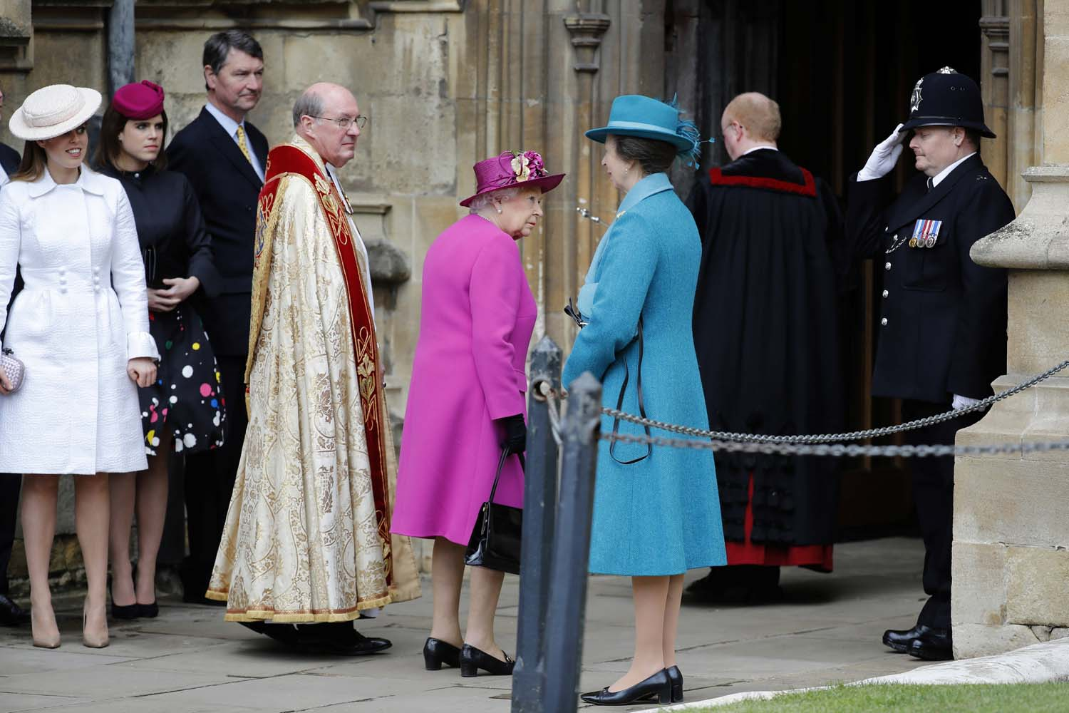 Britain's Queen Elizabeth and other members of Britain's royal family arrive for the annual Easter Sunday service at St George's Chapel at Windsor Castle in Windsor, Britain, April 1, 2018. Tolga Akmen/Pool via Reuters