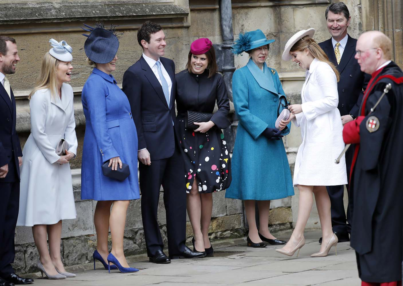 Britain's Princess Eugenie and other members of Britain's royal family arrive for the annual Easter Sunday service at St George's Chapel at Windsor Castle in Windsor, Britain, April 1, 2018. Tolga Akmen/Pool via Reuters