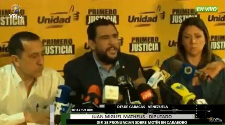 Matheus aseguró que en Carabobo hubo una auténtica masacre (Foto: Nota de prensa)