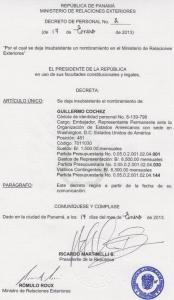 Con este decreto despidieron a Cochez (FOTO)