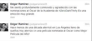 """Así reaccionó Edgar Ramírez por la nominación al Oscar de """"Zero Dark Thirty"""" (Tuits)"""