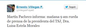 Villegas: Luisa Estela Morales dará rueda de prensa este miércoles