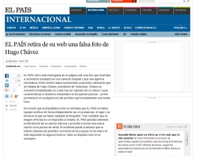 La explicación del diario El País de España sobre la falsa foto de Chávez