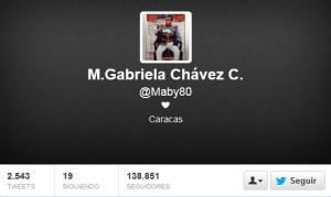 El más reciente tuit de María Gabriela Chávez