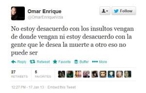 El enredado tweet de Omar Enrique (está o no está)
