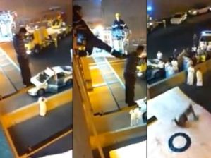 """Bombero """"pateó"""" a hombre que pretendía suicidarse (Video)"""