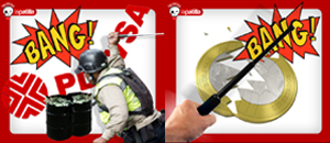 Otros usos del bastón de acero de la Policía Nacional Bolivariana (fotomontaje Calavera)