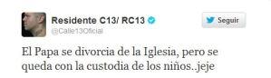 El escándaloso tuit de Calle 13 sobre el Papa (FOTO)