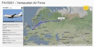 En estos momentos el avión presidencial FAV0001 vuela sobre Rusia (imagen)