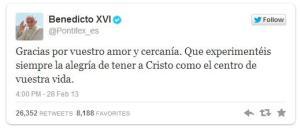 El último tweet de Benedicto XVI