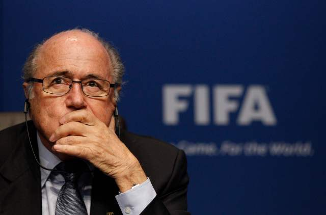 FIFA President Blatter attends a news conference at the Home of FIFA in Zurich