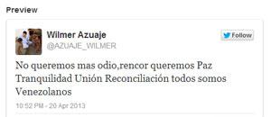 Wilmer Azuaje agradece por Twitter el apoyo recibido