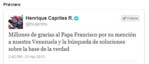 Capriles agradece al papa Francisco su preocupación por Venezuela