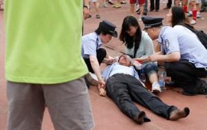 Siete heridos por estampida en un acto de David Beckham en China (Fotos)