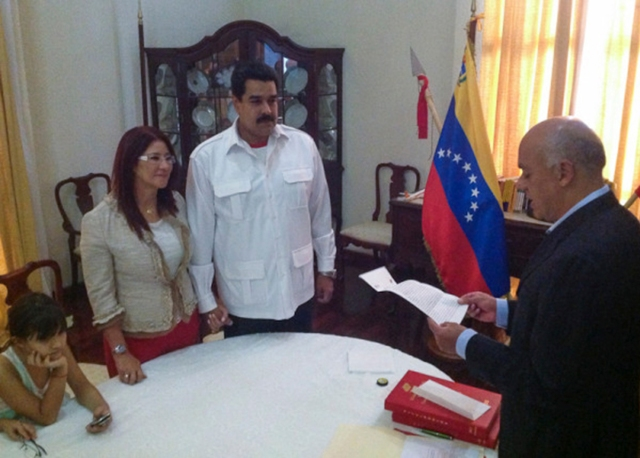 Venezuela's President Nicolas Maduro and first lady Cilia Flores participate in a civil wedding ceremony in Caracas
