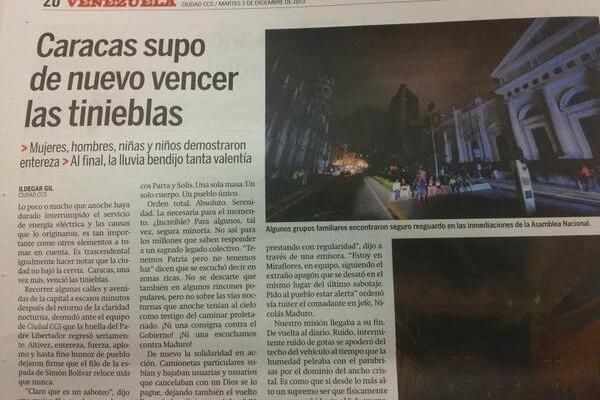 ¡Insólito! Así el oficialismo reseñó el Mega-apagón (Foto)