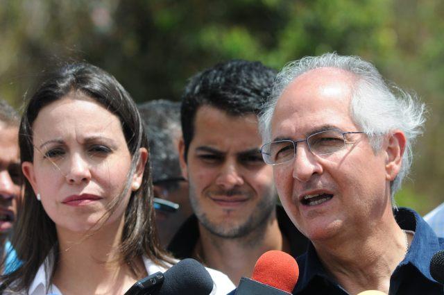 María Corina Machado y Antonio Ledezma durante una protesta en Caracas (Foto archivo)
