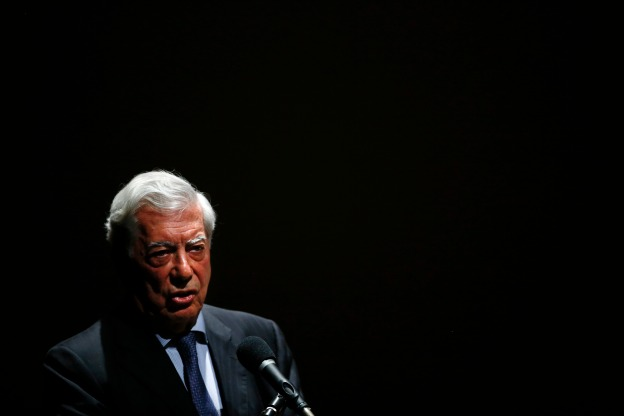 Peruvian writer and Nobel literature laureate Vargas Llosa attends a forum in support of Venezuela's opposition in Caracas