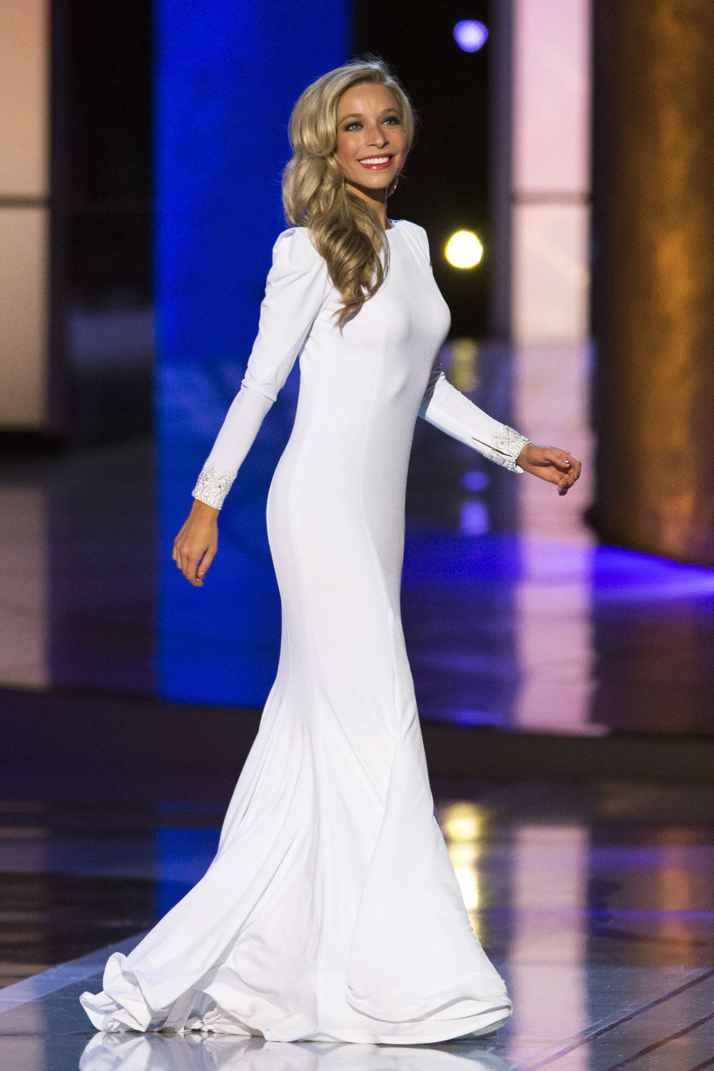 Miss New York Kira Kazantsev sports an evening gown during the final ...
