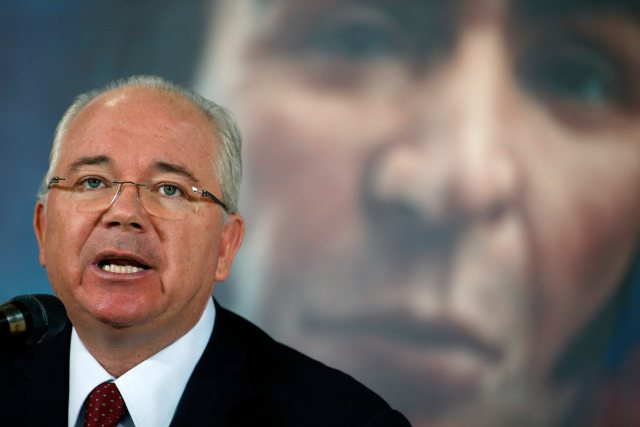 Venezuela's Foreign Minister Rafael Ramirez speaks during a news conference in Caracas
