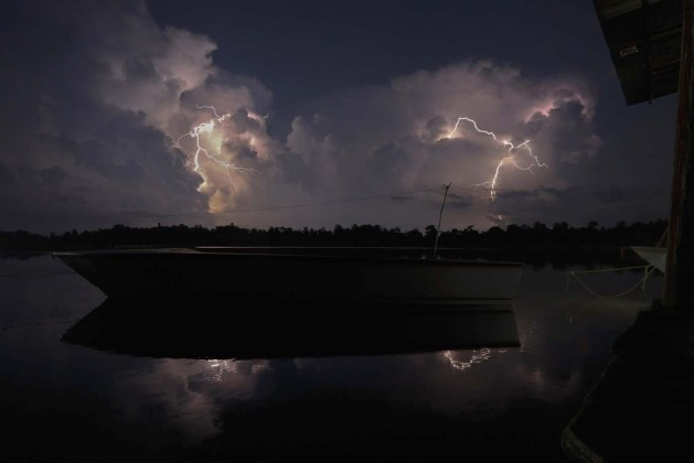 Lightning strikes over Lake Maracaibo in the village of Congo Mirador, where the Catatumbo River feeds into the lake, in the western state of Zulia