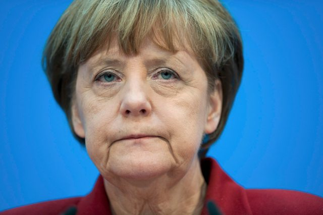 German Chancellor And Head Of Cdu Merkel Reacts During A News Conference With Her Partys Top