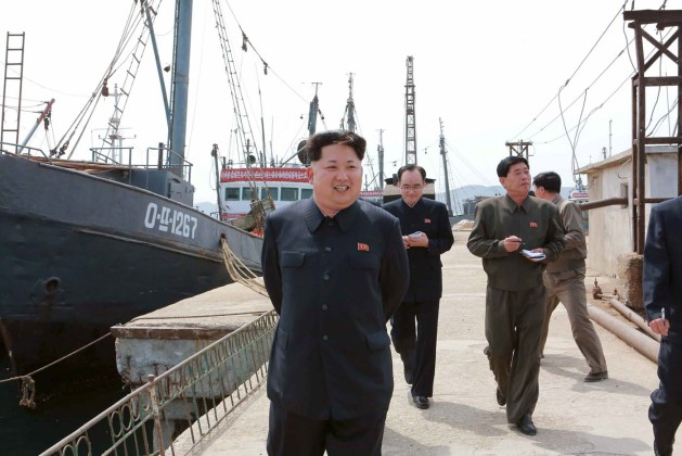 KCNA picture of North Korean leader Kim Jong Un providing field guidance at the Sinpho Pelagic Fishery Complex