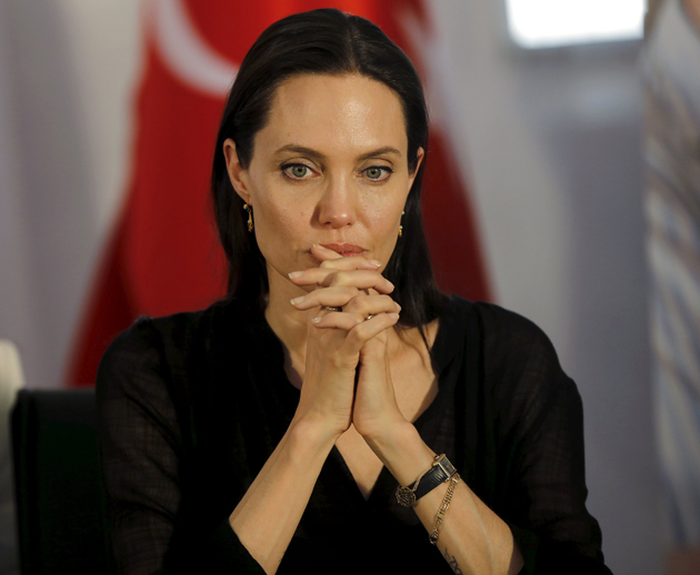 United Nations High Commissioner for Refugees (UNHCR) Special Envoy Angelina Jolie attends a news conference as she visits a Syrian and Iraqi refugee camp in the southern Turkish town of Midyat