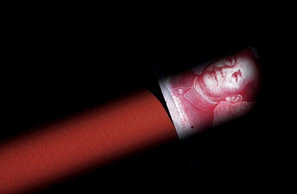 File photo of a 100 Yuan note in Beijing