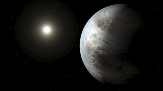 An artist's concept depicts one possible appearance of the planet Kepler-452b, the first near-Earth-size world to be found in the habitable zone of star that is similar to our sun in this NASA image released on July 23, 2015. The planet, which is about 60 percent bigger than Earth, is located about 1,400 light years away in the constellation Cygnus, the scientists told a news conference on Thursday. REUTERS/NASA/Ames/JPL-Caltech/T. Pyle/Handout    ATTENTION EDITORS - FOR EDITORIAL USE ONLY. NOT FOR SALE FOR MARKETING OR ADVERTISING CAMPAIGNS. THIS IMAGE HAS BEEN SUPPLIED BY A THIRD PARTY. IT IS DISTRIBUTED, EXACTLY AS RECEIVED BY REUTERS, AS A SERVICE TO CLIENTS