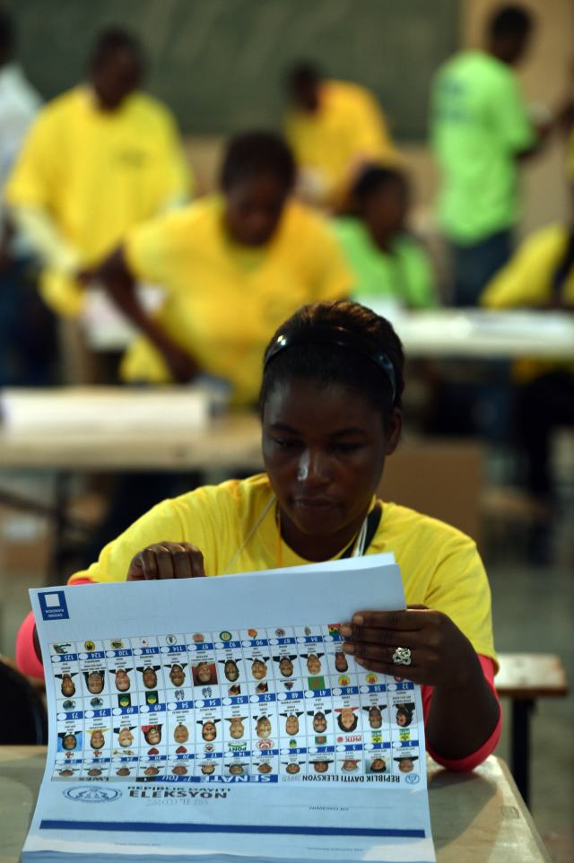 Election officials prepare the ballots for voters in Port-au-Prince, Haiti, on August 9, 2015, during the Legislatives Elections.After nearly four years of delays, Haiti staged legislative elections Sunday in a vote overshadowed by fears of violence and poor turnout. Polling stations opened at 6:00 am (1000 GMT) for the first time since President Michel Martelly came to power in May 2011. The poorest country in the Americas, Haiti suffers from a history of chronic instability and is still struggling to recover from the devastating 2010 earthquake. AFP PHOTO/HECTOR RETAMAL