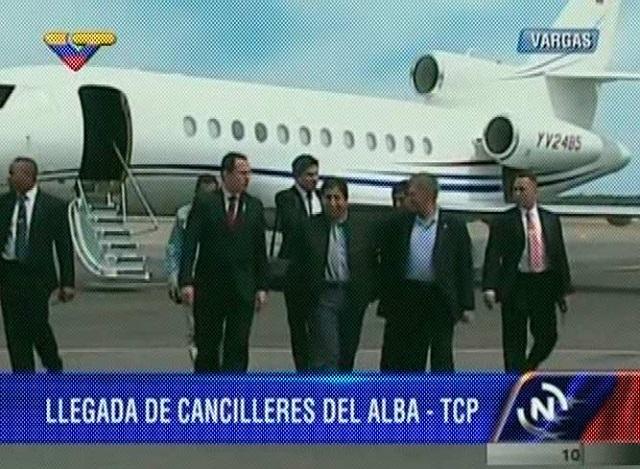 En una colita del jet Falcon YV2486 llegó el canciller de Bolivia