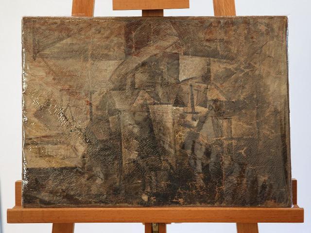 """""""La Coiffeuse"""" de Pablo Picasso bajo un plástico para protejerla en la embajada francesa en Washington, el jueves 13 de agosto de 2015. El Servicio de Control de Inmigración y Aduanas de Estados Unidos devolvió la pintura robada, valuada en 15 millones de dólares, que fue robada en 1998 y fue confiscada en diciembre de 2014. (Foto AP/Andrew Harnik)"""