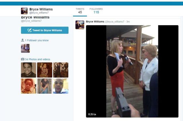 Un tweet aparentemente hecho por el autor de los disparos en Virginia, muestra el momento en que apunta a la periodista Alison Parker, durante una transmisión en vivo desde Bridgewater Plaza, en Virginia, 26 de agosto de 2015. Dos periodistas de televisión murieron baleados el miércoles por la mañana en Virginia, Estados Unidos, mientras realizaban una entrevista que era transmitida en vivo, informó el canal local WDBJ7. Handout via twitter