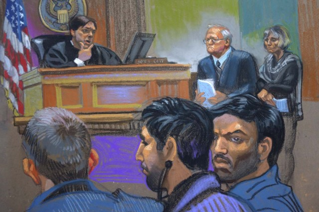 "Judge James Cott (L), attorneys John J. Reilly (C) and Rebekah J. Poston (R) with defendants Efrain Antonio Campo Flores (foreground, R) and Franqui Francisco Flores de Freitas (foreground, C) during a hearing in U.S. district court in the Manhattan borough of New York in this courtroom sketch from November 12, 2015. The defendants, who are two of Venezuelan President Nicolas Maduro's relatives, have been indicted in the United States for cocaine smuggling, according to court papers on Thursday, following an international sting that Venezuela cast as an ""imperialist"" attack. Picture sketched November 12, 2015. REUTERS/Christine Cornell       TPX IMAGES OF THE DAY     FOR EDITORIAL USE ONLY. NO RESALES. NO ARCHIVE. FOR EDITORIAL USE ONLY. NOT FOR SALE FOR MARKETING OR ADVERTISING CAMPAIGNS."