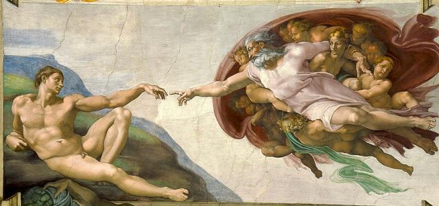 La creación de Adán, del artista Miguel Angel