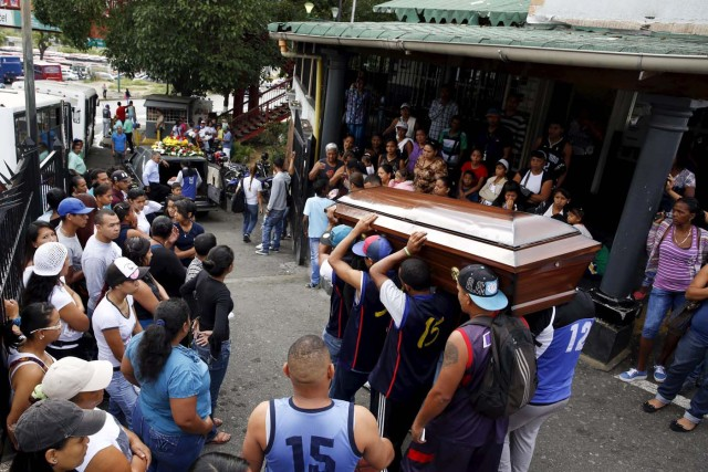 Relatives and basketball team-mates of a crime victim, carry his coffin prior to his burial in Caracas November 25, 2015. Crime is a top issue for voters in Venezuela ahead of this weekend's election for a new National Assembly which the ruling Socialists could lose for the first time in 16 years. Children's rights group Cecodap says the number of crimes committed by minors under the age of 18 rose about 70 percent in 2014 and that a child or adolescent was murdered every 10 hours on average, most of them shot dead. U.N. children's agency Unicef says Venezuela is the world's third worst country for murders of young people, only surpassed by gang-plagued El Salvador and Guatemala. Picture taken November 25, 2015. To match Insight VENEZUELA-CRIME/YOUTH    REUTERS/Carlos Garcia Rawlins