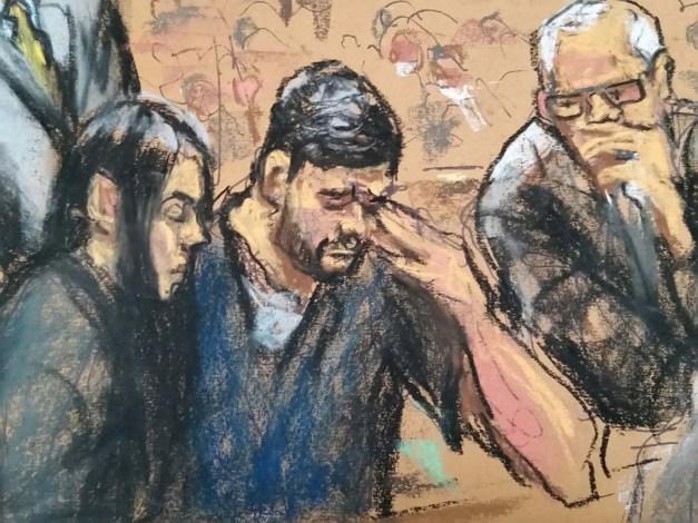 Dibujo de Efrain Antonio Campo Flores durante la audicencia de este 17 de diciembre (Foto Reuters)