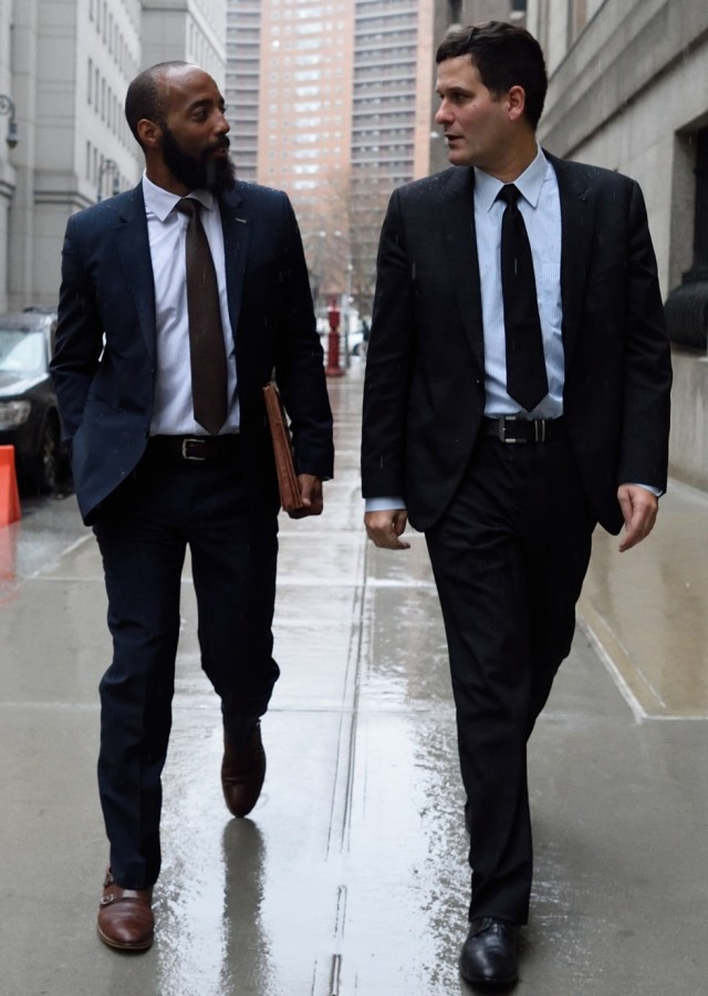Vincent Southerland (L) and Jonathan Marvinny, lawyers for Francisco Flores de Freitas, leave the US Federal Courthouse in Manhattan December 17, 2015 in New York. Two nephews of Venezuela's first lady appeared in a Manhattan court Thursday and denied charges of conspiring to smuggle cocaine into the United States. Efrain Antonio Campo Flores, 29, and Francisco Flores de Freitas, 30, were arrested in Haiti in November and flown to New York by US Drug Enforcement Administration agents.They are sons of brothers of Venezuelan President Nicolas Maduro's wife Cilia Flores. She also served as speaker of the National Assembly from 2006 to 2011. AFP PHOTO/DON EMMERT / AFP / DON EMMERT