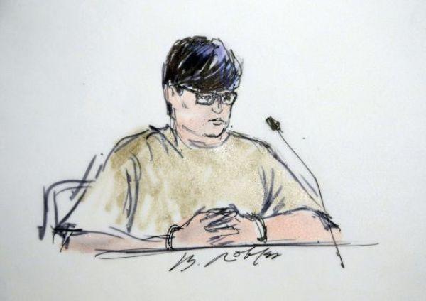 Enrique Máquez, en un boceto de su comparecencia el jueves ante un juez. Foto: AP
