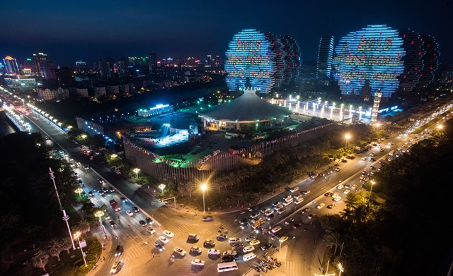 The venue and stage of the Miss World Grand Final is pictured in Sanya, in southern Hainan province on December 18, 2015. The 65th edition of the Miss World Grand Final will kick off on December 19 in Sanya.    AFP PHOTO / JOHANNES EISELE / AFP / JOHANNES EISELE