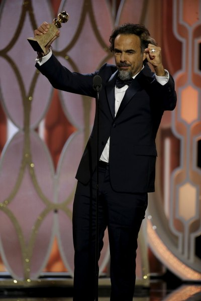 """Alejandro G. Inarritu reacts after winning the Best Director - Motion Picture for """"The Revenant"""", at the 73rd Golden Globe Awards in Beverly Hills, California January 10, 2016.  REUTERS/Paul Drinkwater/NBC Universal/Handout For editorial use only. Additional clearance required for commercial or promotional use. Contact your local office for assistance. Any commercial or promotional use of NBCUniversal content requires NBCUniversal's prior written consent. No book publishing without prior approval. TPX IMAGES OF THE DAY"""