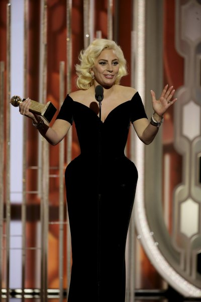 "Lady Gaga speaks after winning Best Actress - Limited Series or TV Movie for her performance in ""American Horror Story: Hotel"", at the 73rd Golden Globe Awards in Beverly Hills, California January 10, 2016. REUTERS/Paul Drinkwater/NBC Universal/Handout For editorial use only. Additional clearance required for commercial or promotional use. Contact your local office for assistance. Any commercial or promotional use of NBCUniversal content requires NBCUniversal's prior written consent. No book publishing without prior approval."