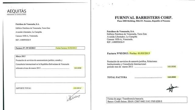 Facturas emitidas en la misma fecha por las dos empresas de Alejo Morodo